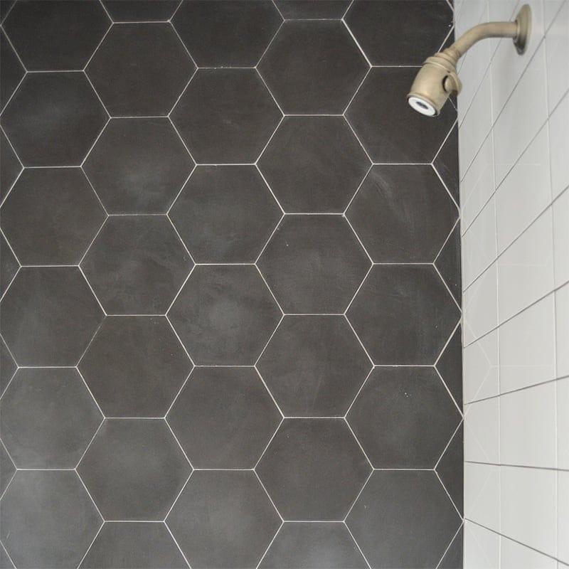 Hexagon Nero Honed Cement Tiles 8x8